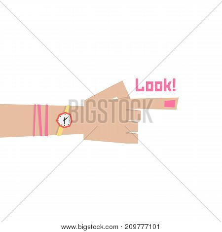 index finger of woman. concept of indicating, ahead, route, choose, out there, human selection, orientation, behold. flat style trend modern logo graphic design vector illustration on white background