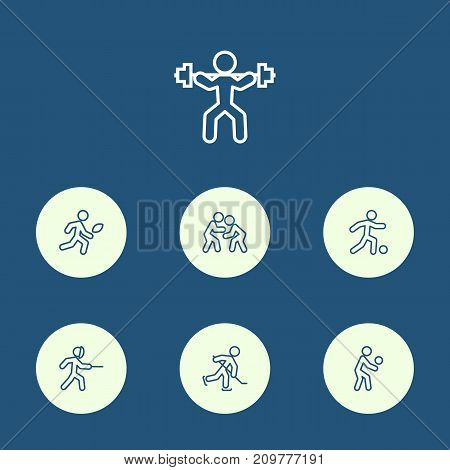 Collection Of Swordplay, Player, Soccer And Other Elements.  Set Of 7 Fitness Outline Icons Set.