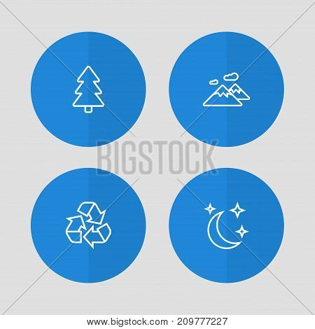 Collection Of Mountain, Moon With Star, Recycle And Other Elements.  Set Of 4 Ecology Outline Icons Set.