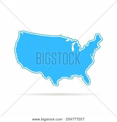 blue outline usa map with shadow. concept of mapping, hand drawn decoration, topography, trip, education, federal. flat style trend modern logotype design vector illustration on white background