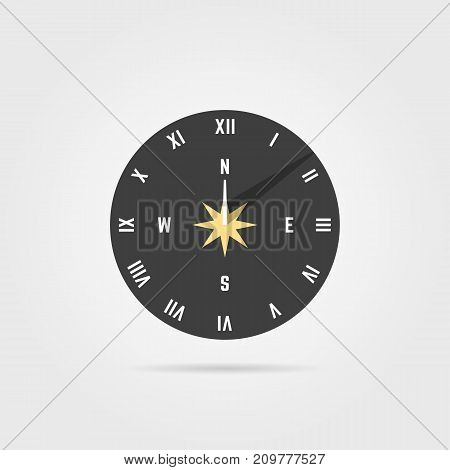 simple sundial icon with shadow. concept of clock face with roman numerals, timer silhouette, measuring, astrology, gothic. flat style trend modern logo design vector illustration on white background