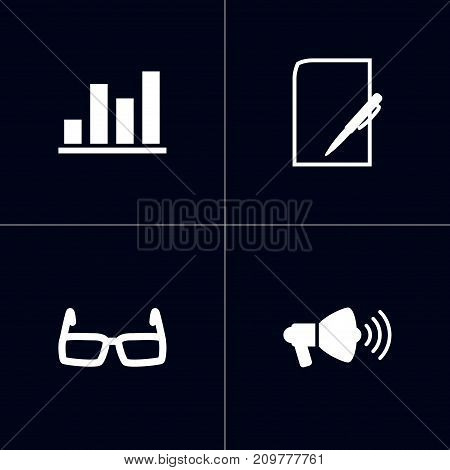 Collection Of Spectacles, Pen, Diagram And Other Elements.  Set Of 4 Management Icons Set.