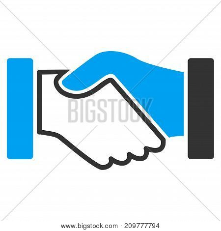 Acquisition Handshake vector icon. Flat bicolor blue and gray symbol. Pictogram is isolated on a white background. Designed for web and software interfaces.