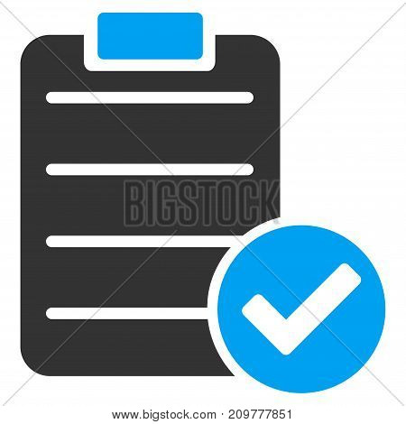 Approve List vector icon. Flat bicolor blue and gray symbol. Pictogram is isolated on a white background. Designed for web and software interfaces.