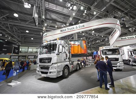 MOSCOW, SEP, 5, 2017: Silver MAN truck on Commercial Transport Exhibition ComTrans-2017. MAN trucks exhibits. Automobile industry. Popular and newest German Commercial trucks. German car truck
