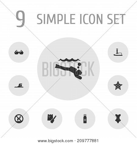 Collection Of Game, Swimwear, Sunscreen And Other Elements.  Set Of 9 Beach Icons Set.