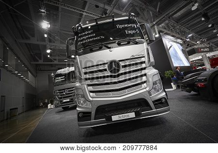 MOSCOW, SEP, 5, 2017: View on silver trucks Mercedes-Benz Actros exhibits on Commercial Transport Exhibition ComTrans-2017. Commercial Mercedes trucks. Automobile industry. Commercial transportation
