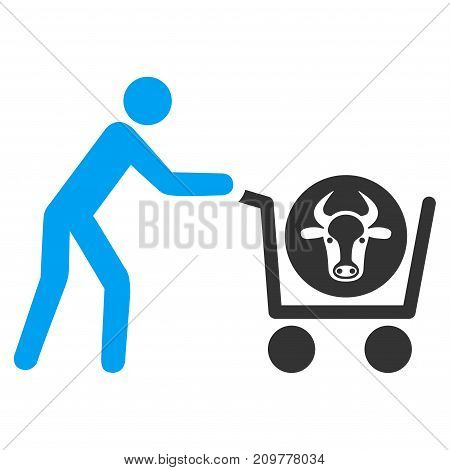 Beef Purchase vector icon. Flat bicolor blue and gray symbol. Pictogram is isolated on a white background. Designed for web and software interfaces.