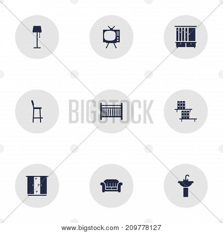 Collection Of Sink, Wardrobe, Cupboard And Other Elements.  Set Of 9 Situation Icons Set.