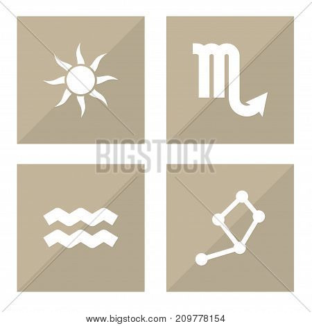Collection Of Zodiac Sign, Horoscope, Solar And Other Elements.  Set Of 4 Astronomy Icons Set.