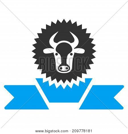 Cattle Award Ribbon vector icon. Flat bicolor blue and gray symbol. Pictogram is isolated on a white background. Designed for web and software interfaces.