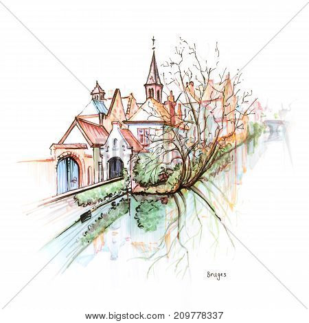 Scenic city view of Bruges canal with beautiful medieval houses and church, Belgium. Picture made with markers