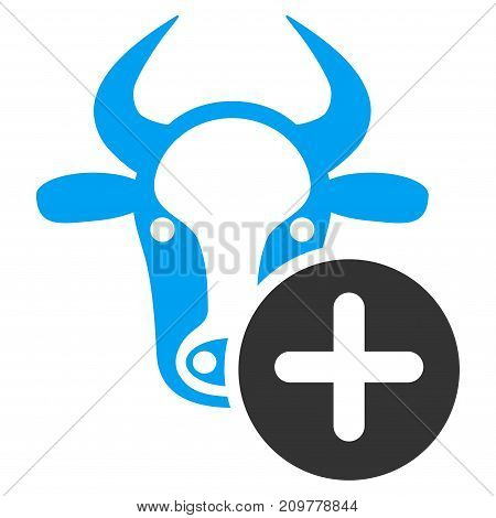 Cow Add vector icon. Flat bicolor blue and gray symbol. Pictogram is isolated on a white background. Designed for web and software interfaces.