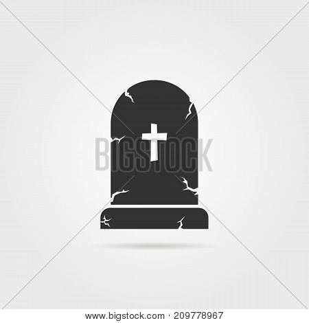 black tombstone with shadow. concept of affliction, fatal, abbey, funerary, crypt, mystery, mournful, funereal. flat style trend modern unusual logo design art vector illustration on gray background