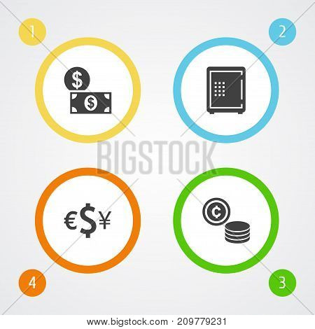 Collection Of Currency, Money, Cash And Other Elements.  Set Of 4 Finance Icons Set.