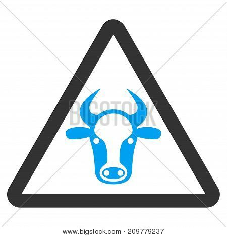 Cow Danger vector icon. Flat bicolor blue and gray symbol. Pictogram is isolated on a white background. Designed for web and software interfaces.