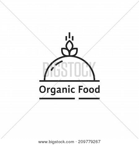 black organic food logo like dish. concept of spikelet, catering platter, eco diet, vegetarian, raw, serving plant. flat style trend modern brand graphic design vector illustration on white background
