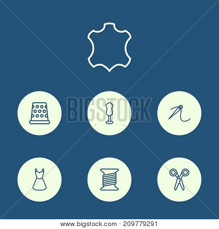 Collection Of Needle, Leather, Scissors And Other Elements.  Set Of 7 Tailor Outline Icons Set.