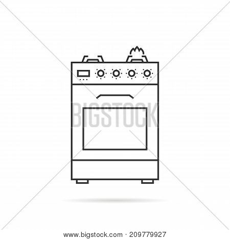 thin line gas stove icon with shadow. concept of combined heater, dinner cooking, bake, indoor preparation, fully equipped gas-range. flat style trend modern logo graphic design on white background