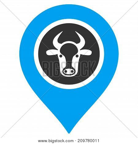 Cow Marker vector icon. Flat bicolor blue and gray symbol. Pictogram is isolated on a white background. Designed for web and software interfaces.