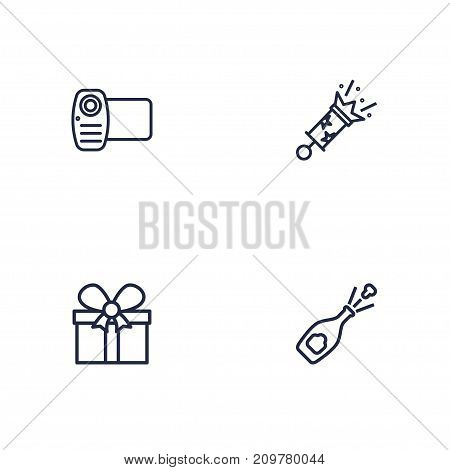 Collection Of Gift, Alcohol, Firecrackers And Other Elements.  Set Of 4 Party Outline Icons Set.