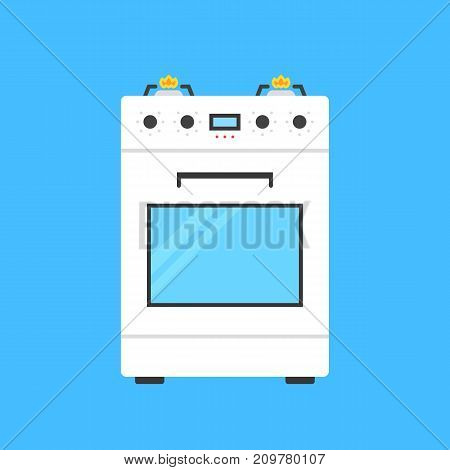white gas stove icon. concept of combined heater, dinner cooking, bake, indoor preparation, fully equipped gas-range. flat style trend modern logo graphic design element on blue background