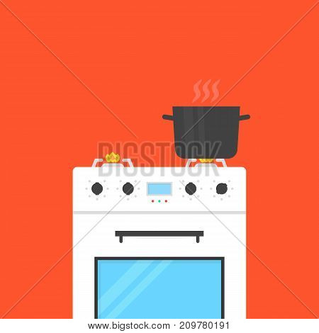 white gas stove with boiling water in pan. concept of preparing, electric equipment, cookery, recipe, kitchen appliances, plate. flat style trend modern graphic design on red background