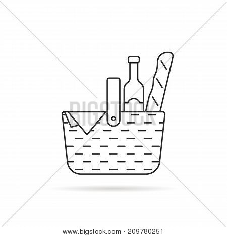 black thin line wicker basket for picnic. concept of french culture resting, leisure, rural party, vintage bottle, relax. flat style trend modern logotype graphic design on white background