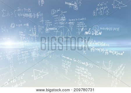 Equations on black background against blue and yellow sky