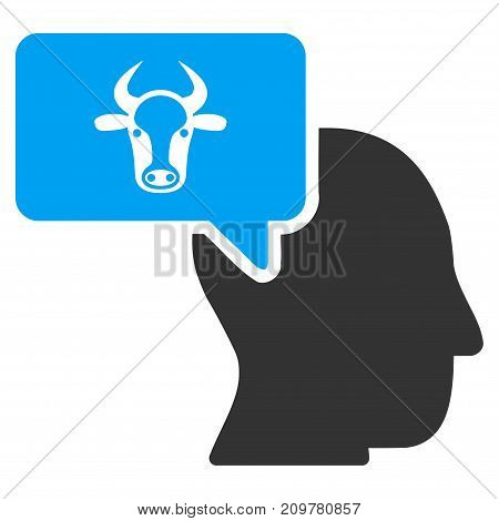 Cow Thinking Person vector icon. Flat bicolor blue and gray symbol. Pictogram is isolated on a white background. Designed for web and software interfaces.