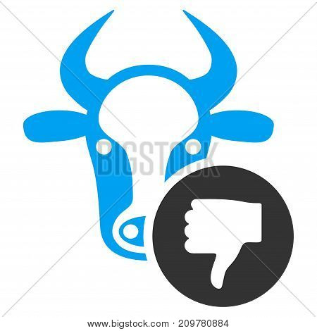 Cow Thumb Down vector icon. Flat bicolor blue and gray symbol. Pictogram is isolated on a white background. Designed for web and software interfaces.