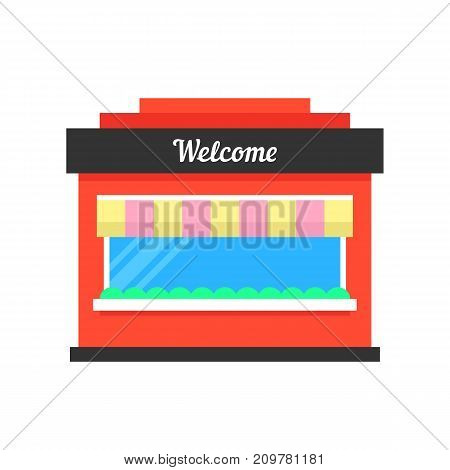 simple shop building icon. concept of marketing, shopfront, awning, town construction silhouette, exterior, merchandise, consumerism. flat style trend modern logo graphic design on white background