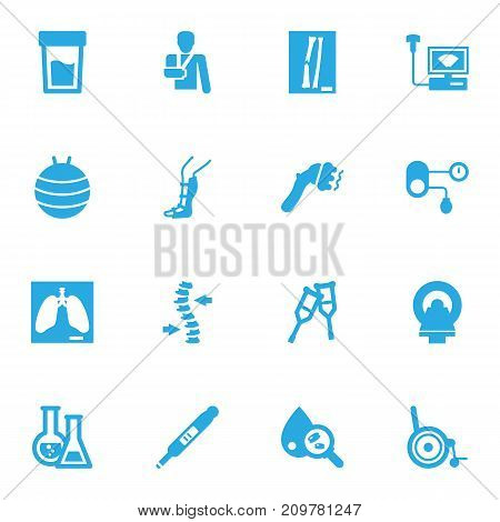 Collection Of Injury, Sonogram, Blood Analysis And Other Elements.  Set Of 16 Healthy Icons Set.