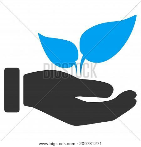 Eco Startup Hand vector icon. Flat bicolor blue and gray symbol. Pictogram is isolated on a white background. Designed for web and software interfaces.