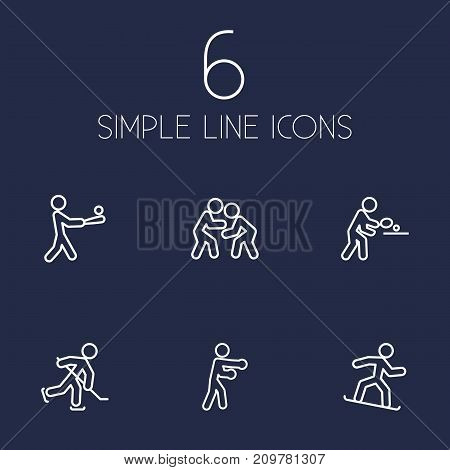 Collection Of Batting, Pong Ping, Snowboard And Other Elements.  Set Of 6 Sport Outline Icons Set.