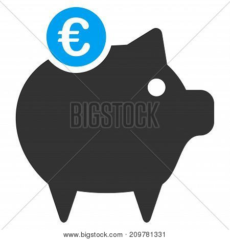 Euro Piggy Bank vector icon. Flat bicolor blue and gray symbol. Pictogram is isolated on a white background. Designed for web and software interfaces.