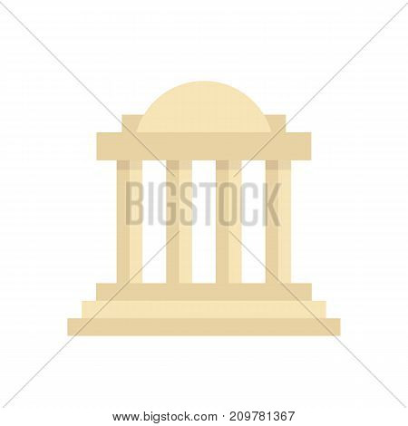 greek colonnade building with columns. concept of corinthian, structure, library, facade, rome, university, doric, acropolis. flat style trend modern logotype graphic design on white background