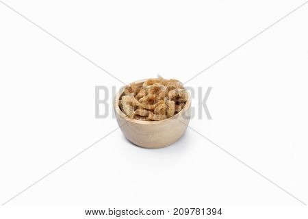 bowl wood stacked high with pork rind