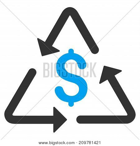 Financial Recycling vector icon. Flat bicolor blue and gray symbol. Pictogram is isolated on a white background. Designed for web and software interfaces.
