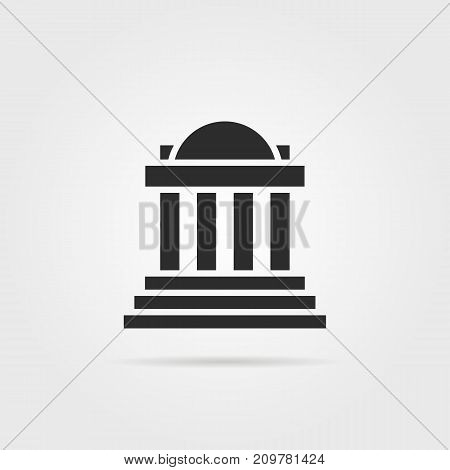 black greek colonnade building with shadow. concept of corinthian, structure, library, facade, rome, university, doric, acropolis. flat style trend modern logotype graphic design on gray background