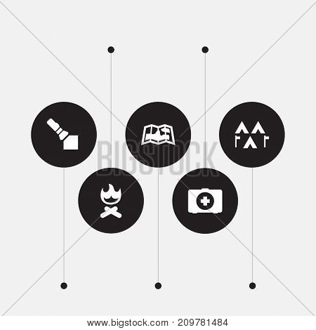 Collection Of Flashlight, Campfire, Camp And Other Elements.  Set Of 5 Adventure Icons Set.