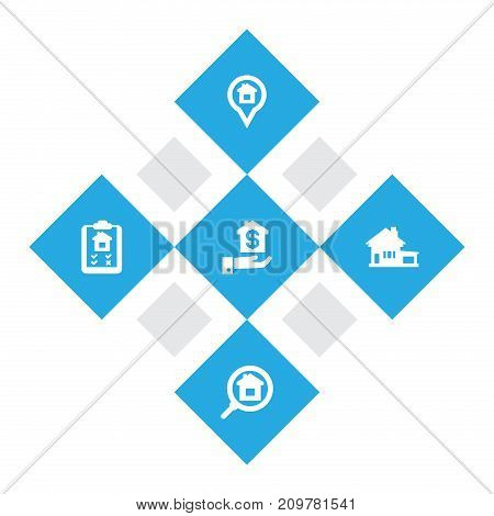 Collection Of Hypothec, Mortgage, Home And Other Elements.  Set Of 5  Icons Set.
