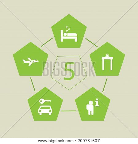 Collection Of Sleep, Metal Detector, Aircraft And Other Elements.  Set Of 5 Aircraft Icons Set.