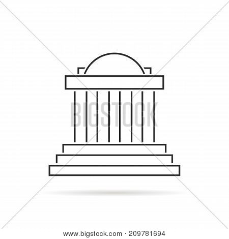thin line greek colonnade with shadow. concept of corinthian, structure design on white background