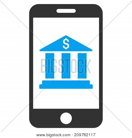 Mobile Bank vector icon. Flat bicolor blue and gray symbol. Pictogram is isolated on a white background. Designed for web and software interfaces.