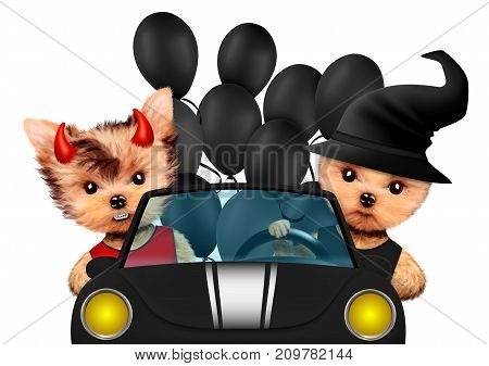 Funny cartoon animal devil and witch sit in black car. Halloween and Dead day concept. Realistic 3D illustration.