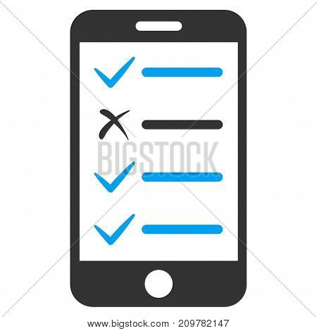 Mobile Checklist vector icon. Flat bicolor blue and gray symbol. Pictogram is isolated on a white background. Designed for web and software interfaces.