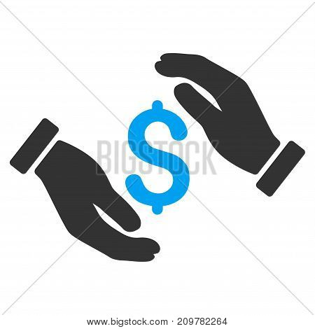 Money Insurance Hands vector icon. Flat bicolor blue and gray symbol. Pictogram is isolated on a white background. Designed for web and software interfaces.