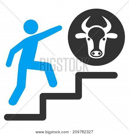 Person Climbing To Cow vector icon. Flat bicolor blue and gray symbol. Pictogram is isolated on a white background. Designed for web and software interfaces.