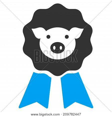 Pig Award Stamp vector icon. Flat bicolor blue and gray symbol. Pictogram is isolated on a white background. Designed for web and software interfaces.